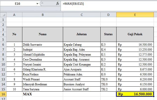 Rumus Excel dasar